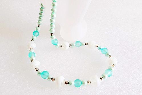 Divine Aqua Blue and White Glass Necklace