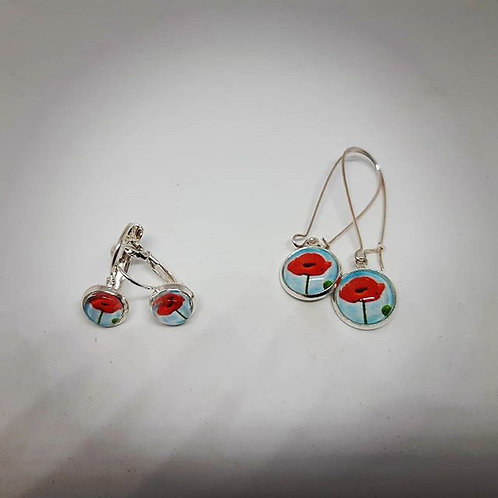 Poppy Earrings - petite Silver leverback or Long Silver Earrings