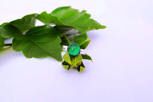 Emerald Shimmer Art Glass Adjustable Ring
