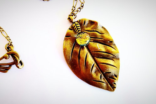 "Beautiful Earth Nature Collection ""Sunset"" Leaf Pendant"