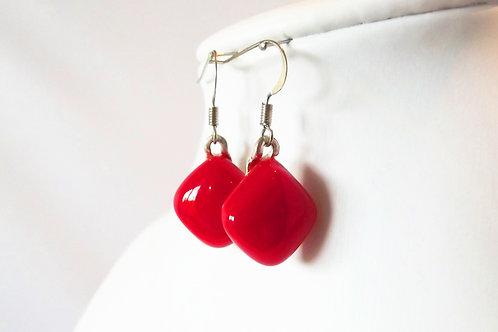 Scarlet Red Art Glass Earrings