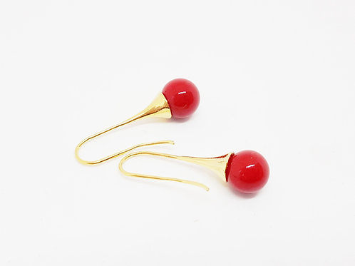 Gold Capped Round Red Glass Drop Earrings