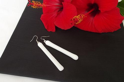 Elegant & Timeless Long White Art Glass Earrings on .925 setting