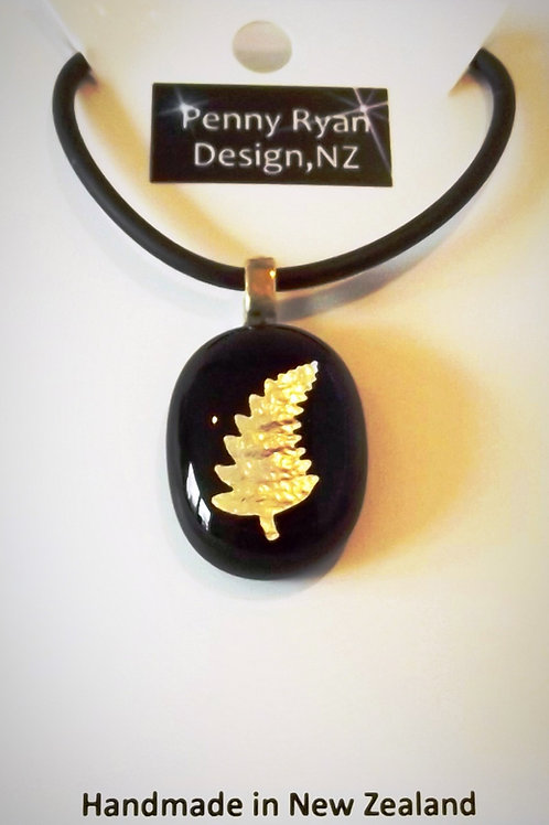 Silver Fern on Black Art Glass Pendant