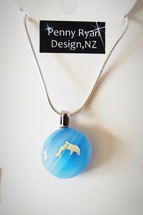 Silver Dolphin on Blue Art Glass Pendant