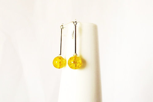 Yellow Glass and Silver Leverback Earrings
