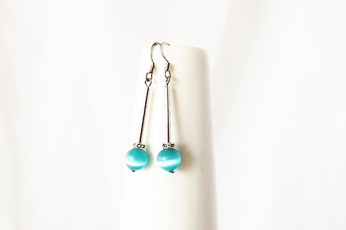 Aqua Blue Shimmer Glass and Silver Leverback Earrings