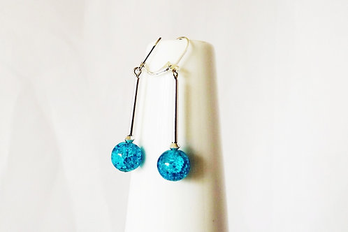 Aqua Blue Sparkle Glass and Silver Leverback Earrings
