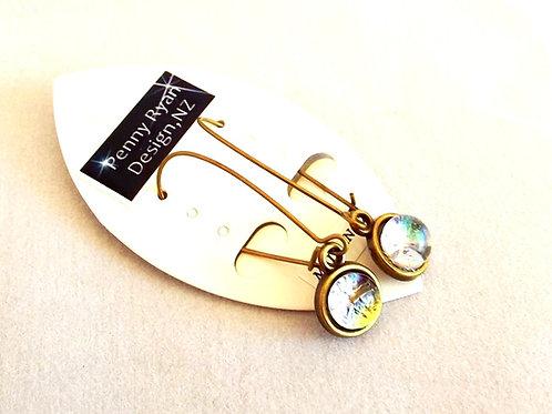 """Glacier Light"" Crystal Art Glass and Brass Earrings"