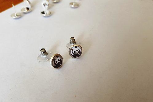 Panda Bear Earrings - Silver Earring Studs