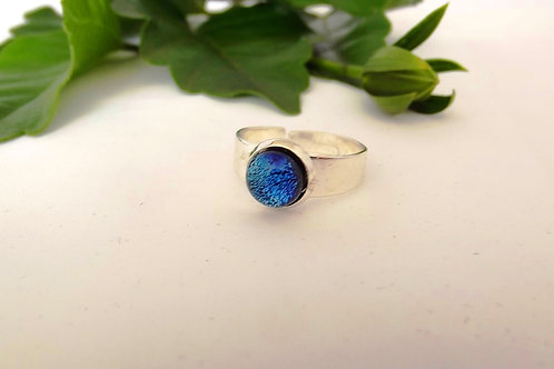 Shades of Blue Art Glass Adjustable Ring