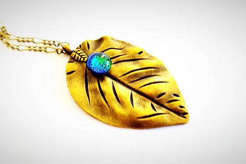 """Emerald Shimmer"" Glass Drop on Brass Leaf Necklace"
