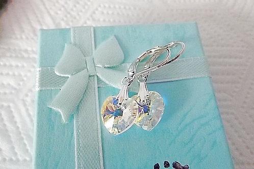 Swarovski Crystal a/b Heart Earrings on Gold or Silver
