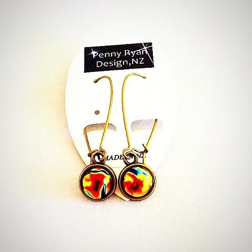 """Aotearoa Sunrise"" long Glass and Brass Earrings"
