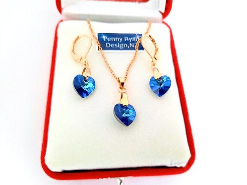 Swarovski Blue Heart Crystal Pendant and Earrings on Gold