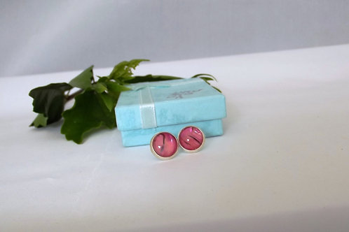 Smoky Pink Silver Stud Earrings