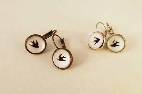 Swallows - Leverback Earrings in brass or  .925 fine silver