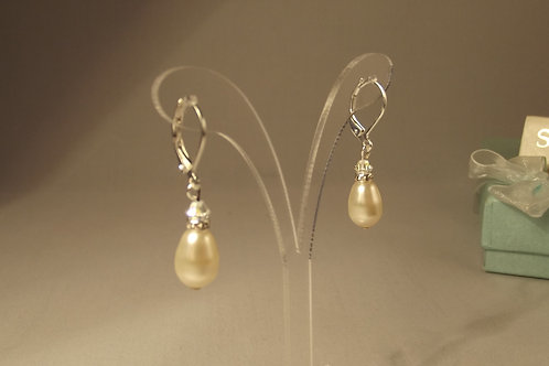 Ivory Teardrop Pearl & Crystal Earrings on Silver