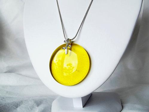 Bright Yellow Transparent Art Glass Pendant