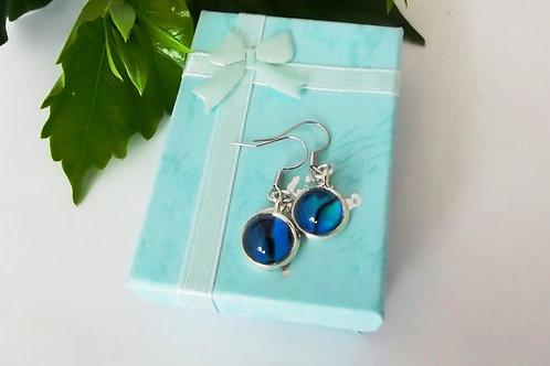 Blue Paua Shell .925 fine Silver Drop Earrings