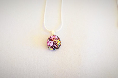"""Pink Reflections"" Fused Art Glass Pendant"