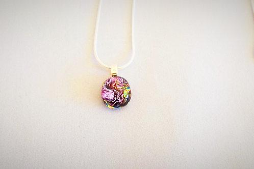 """Pink Reflections"" Crystal Art Glass Pendant"