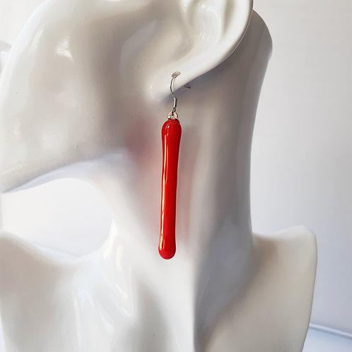 Absolutely Stunning Long Scarlet Red Art Glass Earrings on .925 setting