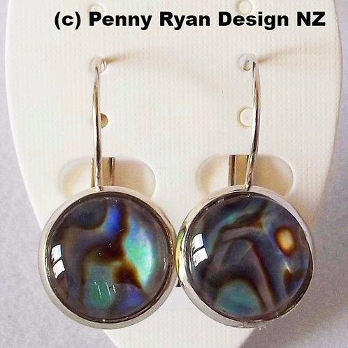 Natural Paua Shell .925 fine Silver Leverback Earrings