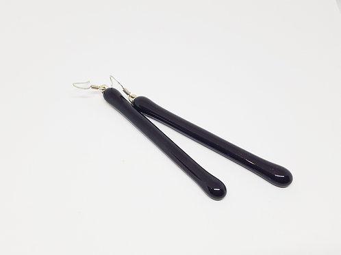Black and Shiny Art Glass Earrings on .925 setting