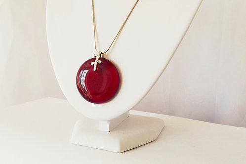Rich Transparent Red Art Glass Pendant