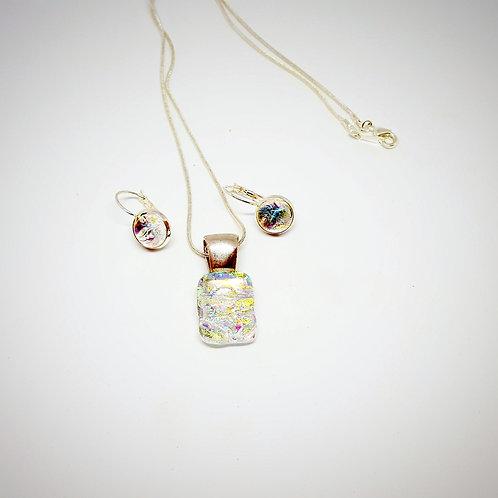 """""""Golden Light""""  Stunning Art Glass Pendant & Earring Set"""