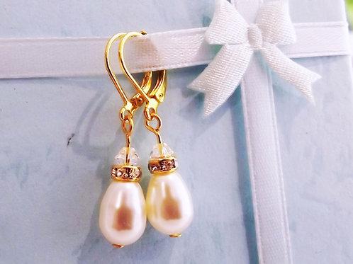 Ivory Teardrop Pearl & a/b Crystal Earrings