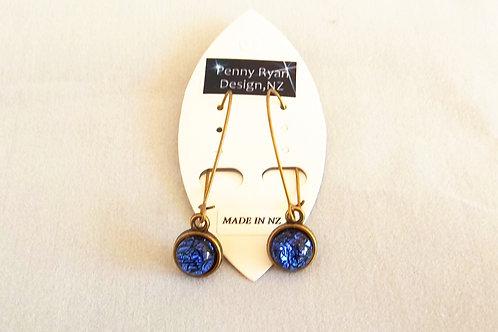 """""""Ocean Sparkle"""" long brass Earrings"""