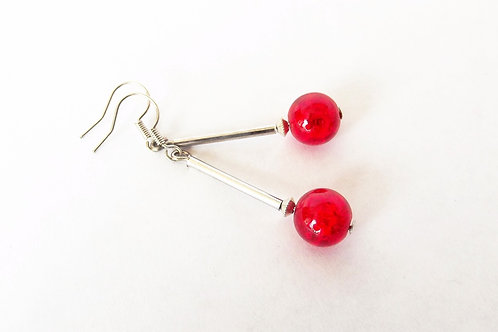 Scarlet Red Glass and Silver Leverback Earrings