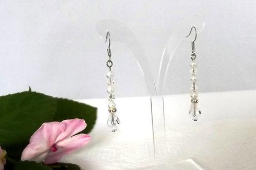 Beautiful Swarovski Crystal &  White Pearl Drop Earrings