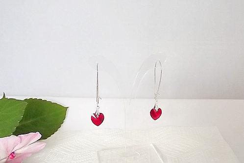 Swarovski Red Heart Crystal Earrings on .925 fine Silver