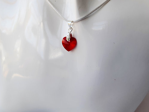 Petite Swarovski Red Crystal Heart Pendant