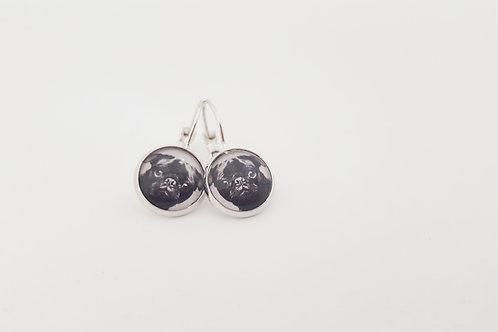 Black Pug Face Earrings -  silver Leverback Earrings