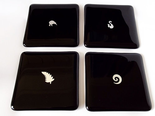 Black and Silver NZ Coaster Set
