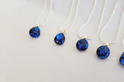 """Ocean Blue"" Fused Art Glass Pendant"