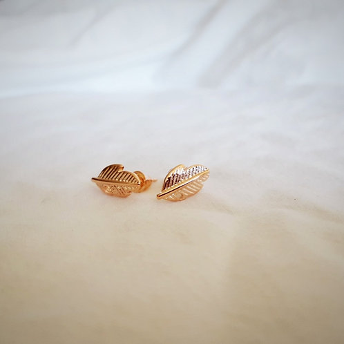 Gold Feathers Petite Earring Studs