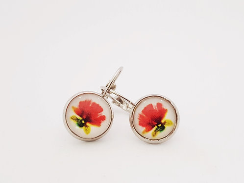 Pohutukawa  .925 fine Silver or 18k fine Gold Leverback Earrings