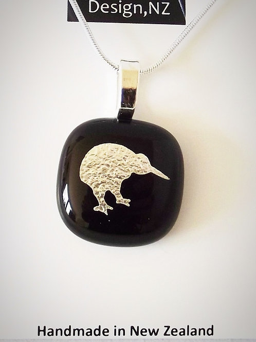 Silver Kiwi on Black Art Glass Pendant