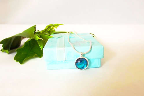 Petite Blue NZ Paua Shell Round Pendant