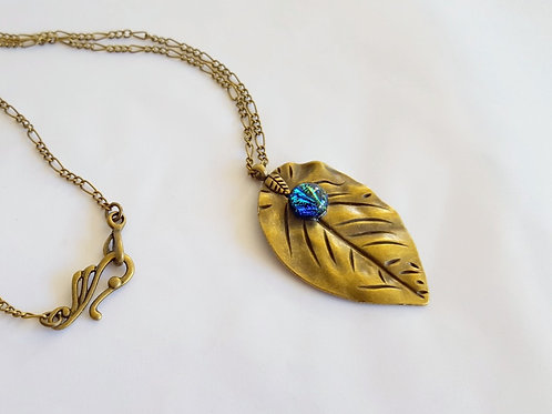 """Tranquility"" Glass Drop on Brass Leaf Necklace"