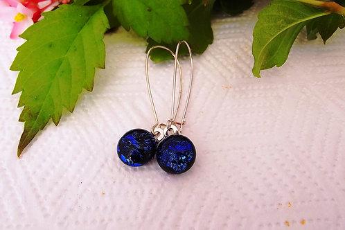 """""""Ocean Blue"""" Long Art Glass & .925 fine Silver Earrings"""