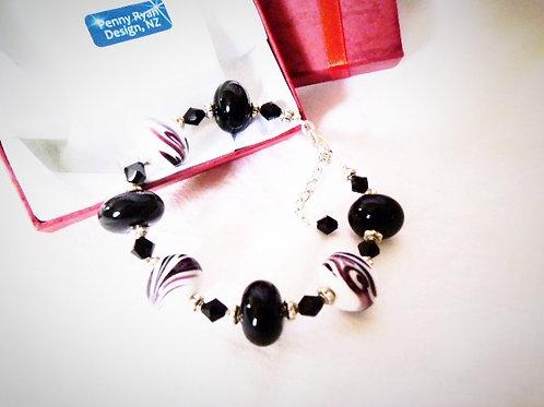 Black and White Murano Glass Bracelet
