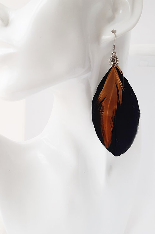 Black and Tan Feather Earrings