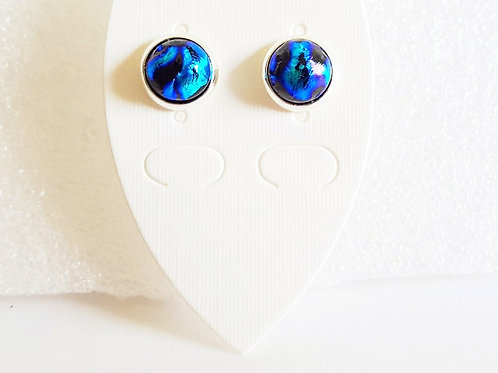 """Shades of Blue"" Stud Earrings on Silver or Gold"