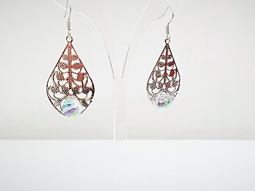 """Glacier Blue"" Silver Filigree & Glass Teardrop Earrings"